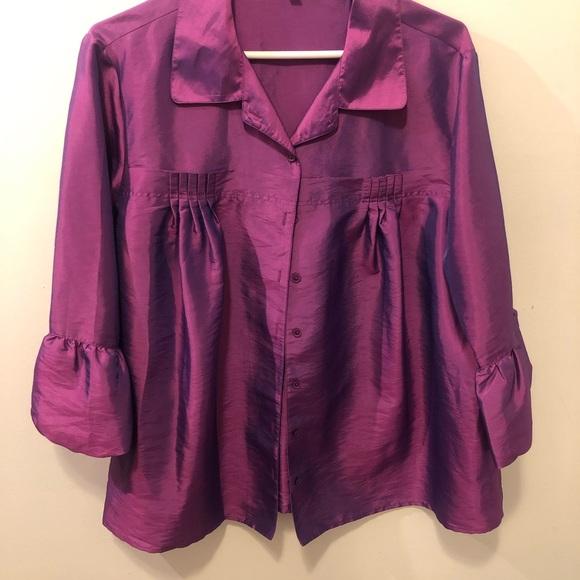 Purple satin button up detailed women's blouse